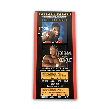 Mike Tyson George Foreman Boxing Fight Ticket 6/16/90 Caesars Palace Tillman