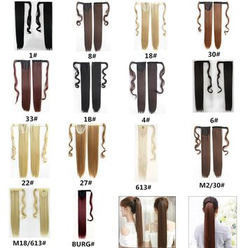 14 Color Straight/Curly Lady Women Fashion Claw Clip Ponytail Hair Extensions Cosplay Wig Hairpiece