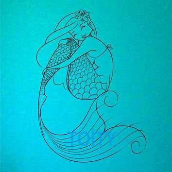 Mermaid Wall Decal Sticker Art Decor Bedroom Design Mural interior design beach ocean hawaii girlove yourself your a Mermaid