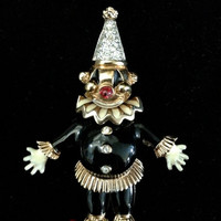 Adorable Articulating Clown Brooch by Panetta