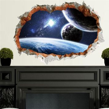 Kids 3D Effect Outer Space Planet Room Wall Sticker