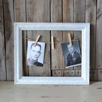 White Wooden Triple Picture Frame With Jute and Clothes Pins