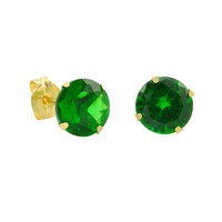 10k Yellow Gold Green Emerald CZ Stud Earrings Cubic Zirconia Round Prong Set