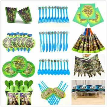 Teenage Mutant Ninja Turtles Kids Birthday Party Supplies Turtles Paper Banner Plates Cups Straws Table Cloth party decoration