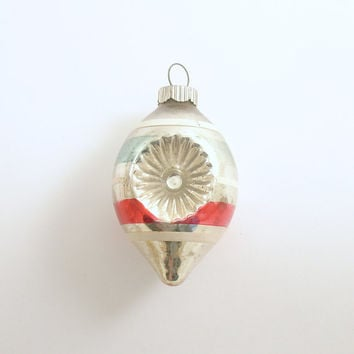 Vintage Glass Christmas Ornament Shiny Brite Teardrop