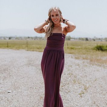 Making Waves Strapless Maxi Dress - Purple