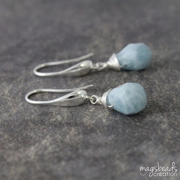 Aquamarine Earrings, Faceted Drop Blue Gemstone, Light Blue, Pastel Blue, Pretty, Sweet, Elegant, Winter Fashion, March Birthstone
