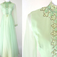 Vintage 1960s Evening Dress Beaded Mint Green Chiffon Full Length Soft and Flowing