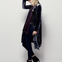 Free People Womens Printed Velvet Duster