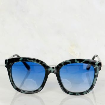 Solid Black Trim Sunglasses Blue Lens