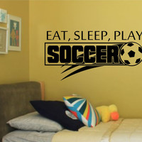 Eat Sleep Play Soccer WORLD CUP SPECIAL Vinyl Wall Decal Sticker Art Sports Kid Children Ball Nursery Boy Teen