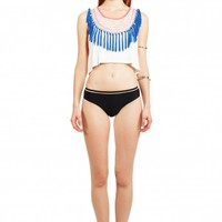6 Shore Road - AM to PM Emroidered Fringe Cropped Top Moonlight White | ShopMiamiStyle