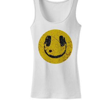 EDM Smiley Face Womens Petite Tank Top by TooLoud