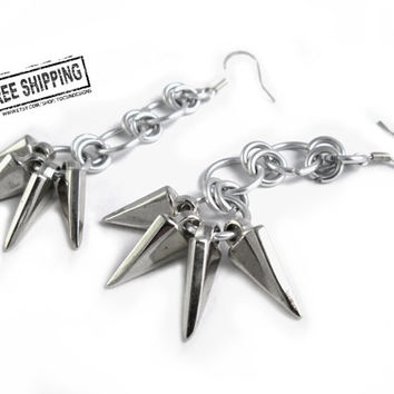 Silver spike earrings - punk earring - punk rock jewelry - spike jewelry - chainmaille earring - rocker jewelry - deathrock gothic jewelry