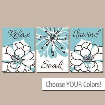 Bathroom Decor, BATHROOM Relax Soak Unwind, Bathroom Quote Aqua Blue Brown BATHROOM Wall Art, CANVAS or Prints, Set of 3 Bathroom Decor