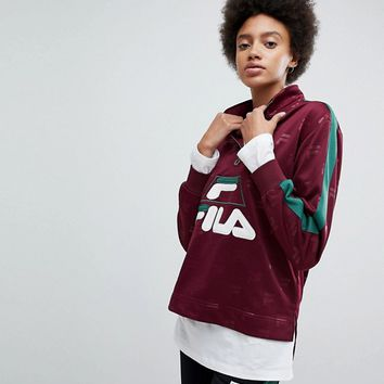 Fila Funnel Neck Track Top In All Over Logo at asos.com