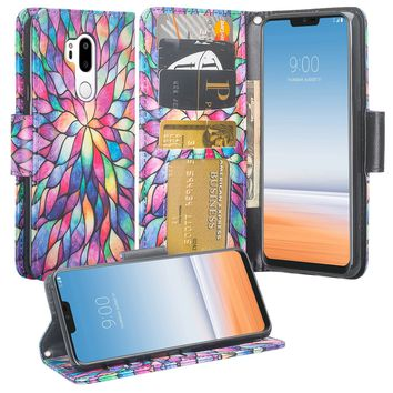 LG G7 ThinQ Case, LM-G710, G7+ ThinQ Wallet Case, Wrist Strap Pu Leather Wallet Case [Kickstand] with ID & Credit Card Slots - Rainbow Flower
