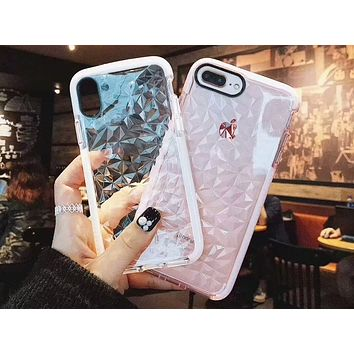 Transparent stereo iPhone7 women's tide brand all-inclusive drop-drop diamond pattern mobile phone case F-OF-SJK pink