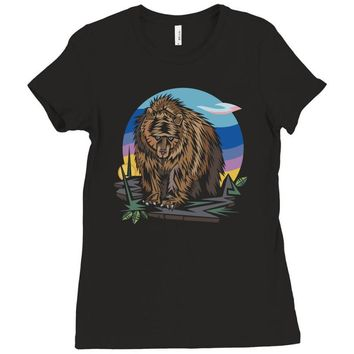 polygon bear graphic Ladies Fitted T-Shirt