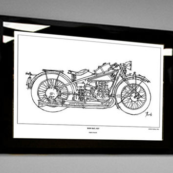 Classic Motorcycle Handmade Portrait, BMW R47, 1927 - Signed Fine Art Limited Edition Print .8x11