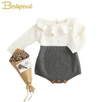 Autumn Spring Baby Girl Knit Romper Peter Pan Collar Baby Rompers Long Sleeves Infant Jumpsuit Baby Girl Clothes