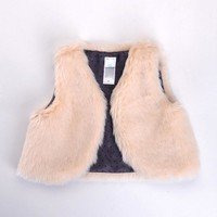 Hot Sale baby Girls Vest baby girl clothes baby Waistcoat baby boy faux fur jacket high quality Free Shipping