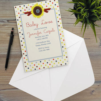 Instant Download - Polka Dots Sunflower Floral Garden Southwestern Summer Season Cottage Shabby Chic Party Invitation Template
