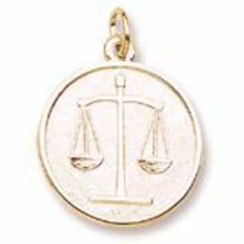 Scales Of Justice Charm in Yellow Gold Plated