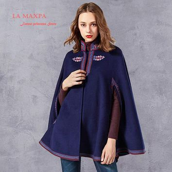 Winter Coat Women 2017 purplish blue Boho New Wool Viscose Cloak Floral Embroidery Hooded Thicken Warm Coats Casaco Feminin