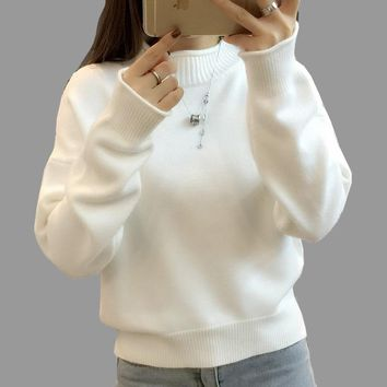 Korean Fashion Basic Sweater 2018 New Women Autumn Winter Long Sleeve Turtleneck Loose Knitted Sweaters Female Pullovers Jumpers