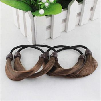 Two Fine Color Korean Simulation Pigtail Wig Cannabis Hair Ring Rope Head ban