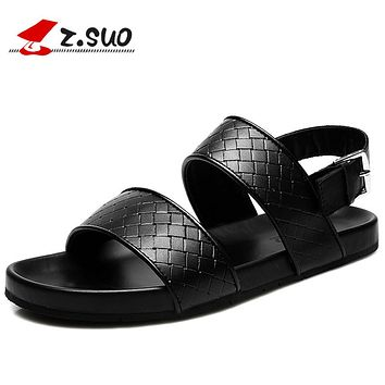 Black Men Sandals Summer Leisure Beach Men Shoes High Quality Genuine Leather Men's Sandals Zapatos Hombre