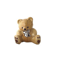 Wade Pottery Teddy Bear Ceramic Bank |  Light Brown and Silver Bow Tie  Unique Gift Christmas Gift Gift for Him Mom Teen Home Deco