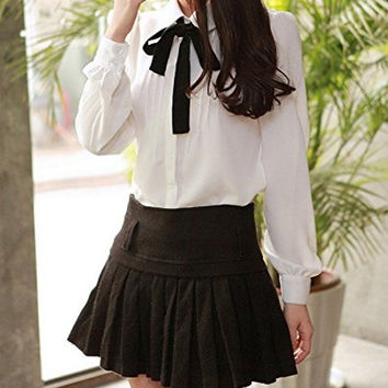2017 Fashion Casual Shirt Female Bow Tie White Blouses Peter Pan Collar Women Tops School Ladies Blouse Plus Size