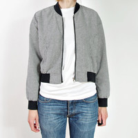 SALE 20% OFF - 80s Black & White Houndstooth Check Bomber Jacket / Crop Outerwear / Street Style Wear / Size M-L