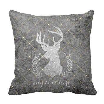 Silver Glitter Stag Silhouette Throw Pillow