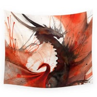 Society6 Ink Dragon Red Wall Tapestry