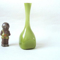 1960's Swedish cased glass vase by Ekenäs glass-works, Green and white glass, Swedish bulb vase -Mid century Modern vase