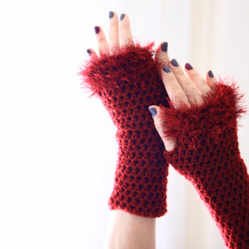 Burgundy fingerless gloves with furry edgings, Danae furry, winter fashion, vegan friendly