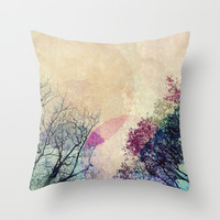 2 Trees Throw Pillow by Mareike Böhmer Graphics