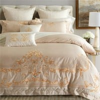 Luxury Embroidery bedding set soft egyptian cotton bed flat sheet duvet cover set pillowcase quilt cover King Queen size bed set