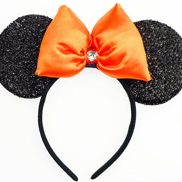 Orange Minnie Mouse Ears Shimmer Sparkle Halloween Costume Minnie Ears Sparkle Mickey Mouse Ears Minnie Mouse Bow Girls Minnie Mouse Outfit