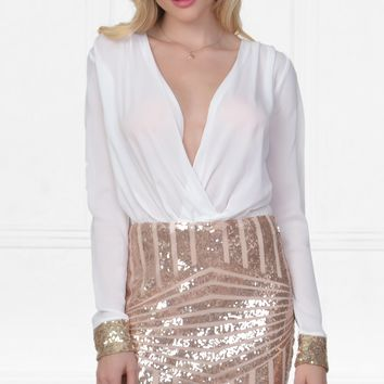 Statement Maker White Gold Long Sleeve Cross Wrap V Neck Geometric Sequin Mini Dress
