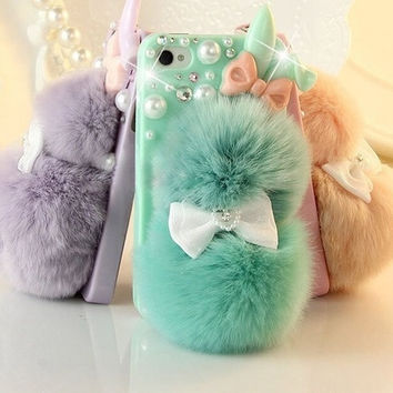 # 1 Best Seller Chic Rabbit Fur Multicolor Bunny Case For Teen Girls,Rhinestone Hard Case Cover For iPhone 6 6 plus iPhone 5C 5S 4S Galaxy S4 S3 note 3 note 4 = 1932244932