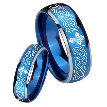 His Her Glossy Blue Dome Celtic Cross Two Tone Tungsten Wedding Rings Set