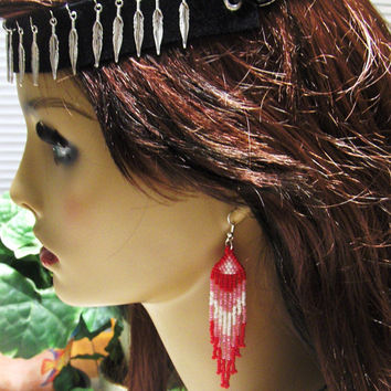 Red Earrings/Fringe Earrings/Drop Dangle Earrings/Seed Bead Earrings/Gifts for her/Gifts For Wife/Chandelier Earrings/Jewelry Accessories