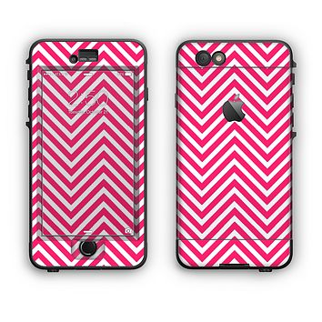The White & Pink Sharp Chevron Pattern Apple iPhone 6 Plus LifeProof Nuud Case Skin Set