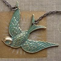 Just Keep Flying verdigris swallow bird necklace by soradesigns