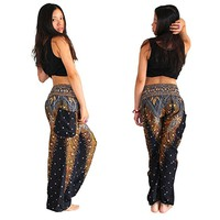Boho Festival Pants, Men Women Hippy Smock High Waist Yoga Trousers