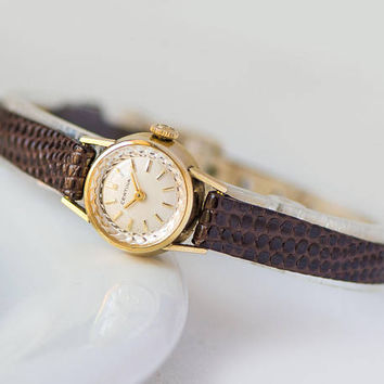 Retro Women Certina watch, gold plated AU 40 lady watch, small round woman watch gift, classical timepiece rare, new luxury leather strap
